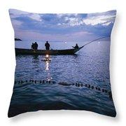 Ugandan Men Using Nets And Lanterns Throw Pillow