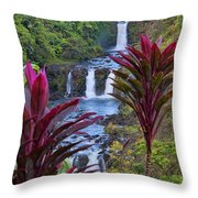 Umauma Falls Big Island Hawaii Throw Pillow