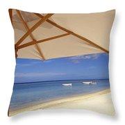Umbrella And Tropical Beach, Close Up Throw Pillow