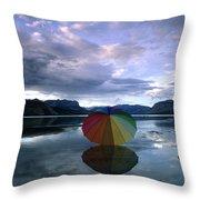 Umbrella Beach Throw Pillow
