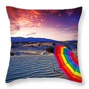 Umbrella On Desert Sands Throw Pillow by Garry Gay