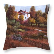 Una Bicicletta Nel Bosco Throw Pillow