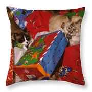 Under The Christmas Tree Throw Pillow