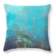 Underwater Blue Crab Throw Pillow
