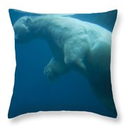 Underwater View Of A Polar Swimming Throw Pillow