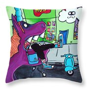 Unicorn Eating A Hipster Throw Pillow by Jera Sky