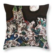 Unicorn In Sea Below Castle Throw Pillow by Carol Law Conklin