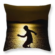 Unicycling Silhouette Throw Pillow