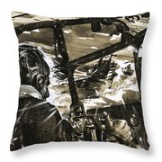 Unidentified Aircraft Diving To Attack A Ship  Throw Pillow