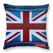 Union Jack Denim Throw Pillow