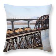 Union Pacific Locomotive Trains Riding Atop The Old Benicia-martinez Train Bridge . 5d18850 Throw Pillow
