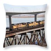 Union Pacific Locomotive Trains Riding Atop The Old Benicia-martinez Train Bridge . 5d18851 Throw Pillow