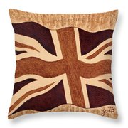 United Kingdom Flag Coffee Painting Throw Pillow