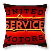 United Motors Service Neon Sign Throw Pillow