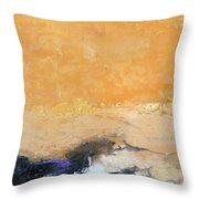 Untitled Abstract - Amber Peach  With Violet Throw Pillow