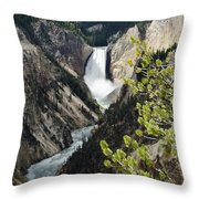 Upper Falls Of The Yellowstone River Throw Pillow