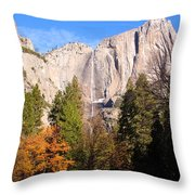 Upper Yosemite Falls In Autumn Throw Pillow