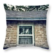 Upstairs Window In Stone House Throw Pillow