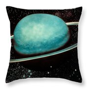 Uranus With Its Rings Throw Pillow