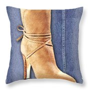 Urban Cowgirl Suede Boots Throw Pillow