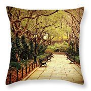 Urban Forest Primeval - Central Park Conservatory Garden In The Spring Throw Pillow by Vivienne Gucwa