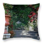 Urn And Steps At A Villa On Lake Como Throw Pillow