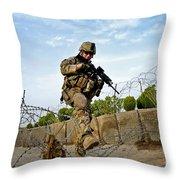 U.s. Air Force Airman Patrols Throw Pillow
