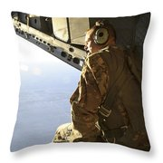 U.s. Air Force Commander Sits Harnessed Throw Pillow