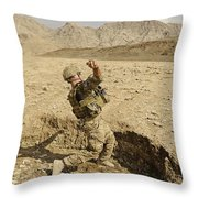U.s. Air Force Soldier Throws A Frag Throw Pillow