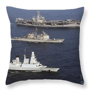 U.s. And French Navy Ships Transit Throw Pillow