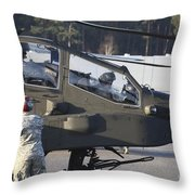 U.s. Army Ah-64d Apache Helicopter Throw Pillow