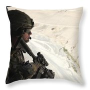 U.s. Army Captain Looks Out The Door Throw Pillow