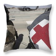 U.s. Army Crew Chief Inspects Throw Pillow
