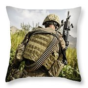 U.s. Army Mk48 Machine Gunner Patrols Throw Pillow