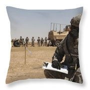 U.s. Army Radio Operator Communicates Throw Pillow