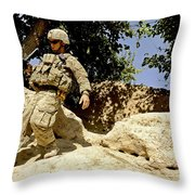 U.s. Army Soldier Climbs Down A Hill Throw Pillow