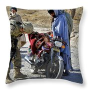 U.s. Army Soldier Conducts Vehicle Throw Pillow