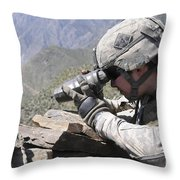 U.s. Army Soldier Monitors An Afghan Throw Pillow