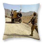 U.s. Army Soldier Moves To His Mrap Throw Pillow