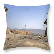 U.s. Army Soldier On A Foot Patrol Throw Pillow