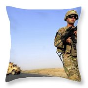 U.s. Army Soldier On Patrol Throw Pillow