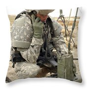 U.s. Army Soldier Performs A Radio Throw Pillow by Stocktrek Images