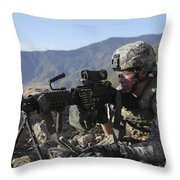 U.s. Army Soldier Provides Overwatch Throw Pillow