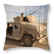U.s. Army Soldier Pulls Security On Top Throw Pillow