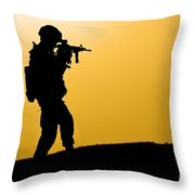 U.s. Army Soldier Secures An Area Throw Pillow