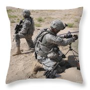 U.s. Army Soldier Sets Up A Satellite Throw Pillow