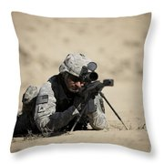 U.s. Army Soldier Sights In A Barrett Throw Pillow