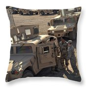 U.s. Army Soldier Speaks With Iraqi Throw Pillow by Stocktrek Images