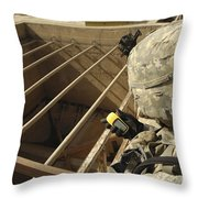 U.s. Army Soldier Takes A Gps Grid Throw Pillow by Stocktrek Images