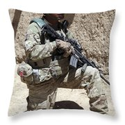 U.s. Army Soldier Takes A Knee While Throw Pillow